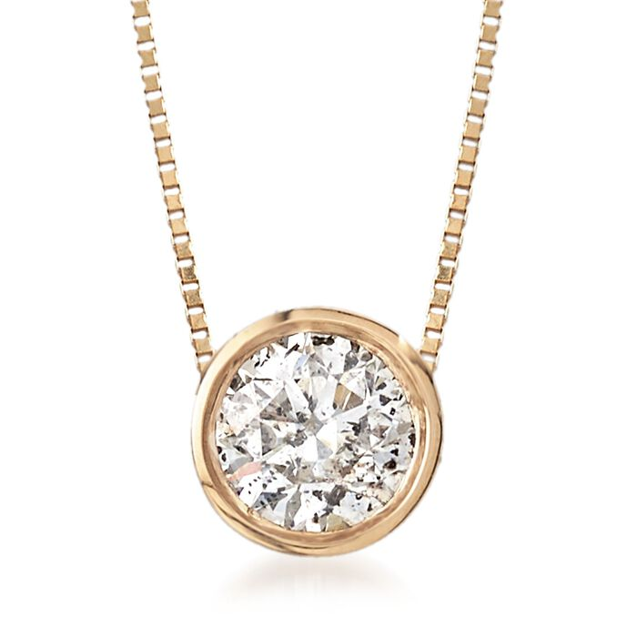 ".62 Carat Bezel-Set Diamond Solitaire Necklace in 14kt Yellow Gold. 18"", , default"