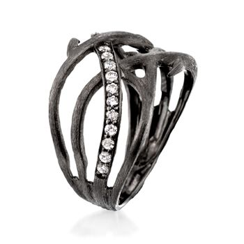 .30 ct. t.w. Diamond Branch Ring in Sterling Silver. Size 5, , default