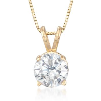 "1.00 Carat Diamond Solitaire Necklace in 14kt Yellow Gold. 18"", , default"