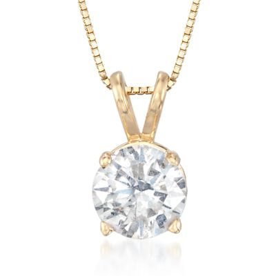 1.00 Carat Diamond Solitaire Necklace in 14kt Yellow Gold, , default