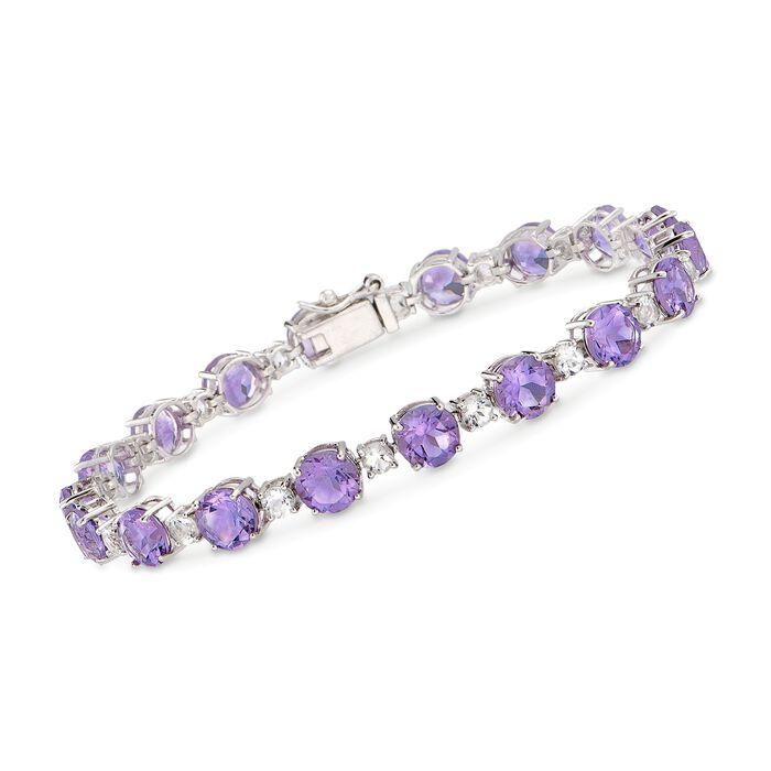 "12.00 ct. t.w. Amethyst and 1.80 ct. t.w. White Topaz Tennis Bracelet in Sterling Silver. 7"", , default"