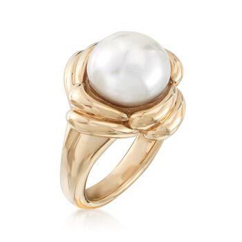 11.5-12mm Cultured Pearl Scalloped Halo Ring in 14kt Yellow Gold, , default