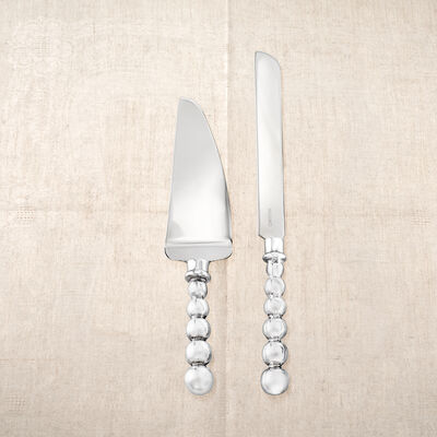 Mariposa Pearled Cake Server Set, , default