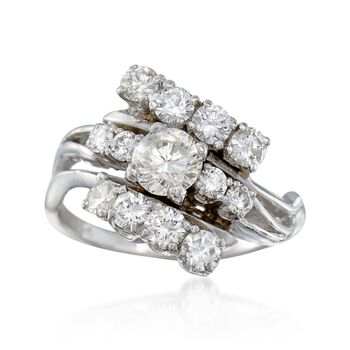 C. 1970 Vintage 1.50 ct. t.w. Diamond Cluster Ring in 14kt White Gold. Size 6, , default