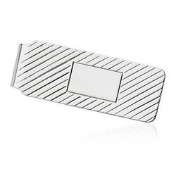 Sterling Silver  Three-Initial Engravable Money Clip, , default