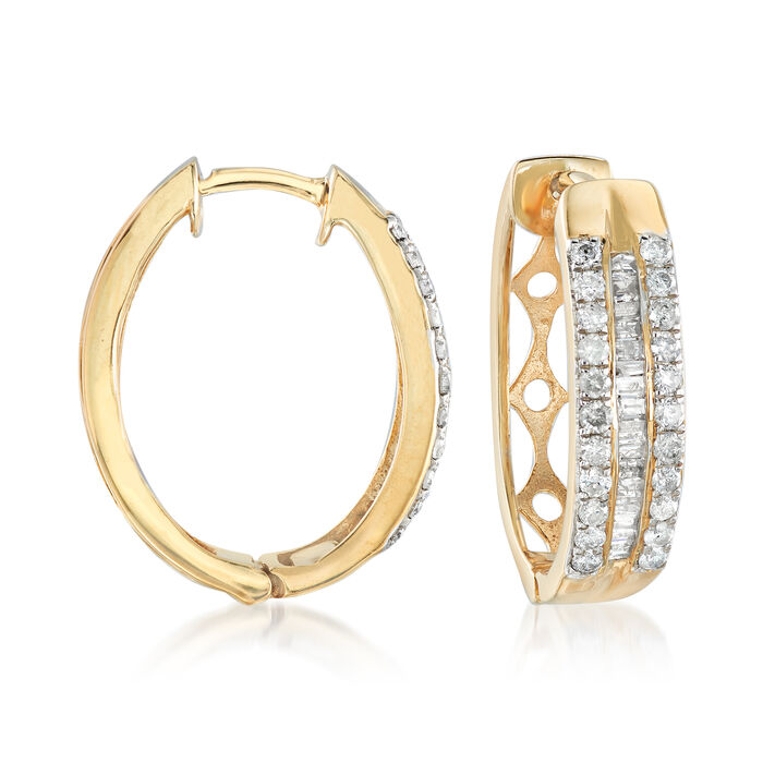 1.00 ct. t.w. Round and Baguette Diamond Three-Row Hoop Earrings in 14kt Gold Over Sterling. 7/8""