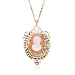 "C. 1950 Vintage Carved Agate Cameo Pendant Necklace in 10kt and 14kt Gold. 24"", , default"