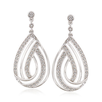 .25 ct. t.w. Diamond Teardrop Earrings in Sterling Silver, , default