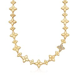 "Roberto Coin ""Princess"" .18 ct. t.w. Diamond Flower Necklace in 18kt Two-Tone Gold. 16"", , default"