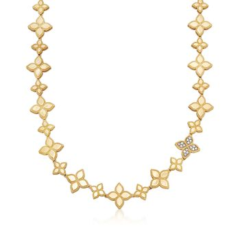 """Roberto Coin """"Princess"""" .18 ct. t.w. Diamond Flower Necklace in 18kt Two-Tone Gold. 16"""", , default"""