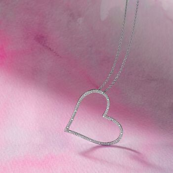""".10 ct. t.w. Diamond Sideways Heart Pendant Necklace in Sterling Silver. 18"""", , default"""