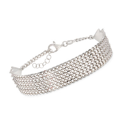 Italian Sterling Silver Multi-Strand Curb-Link Bracelet, , default