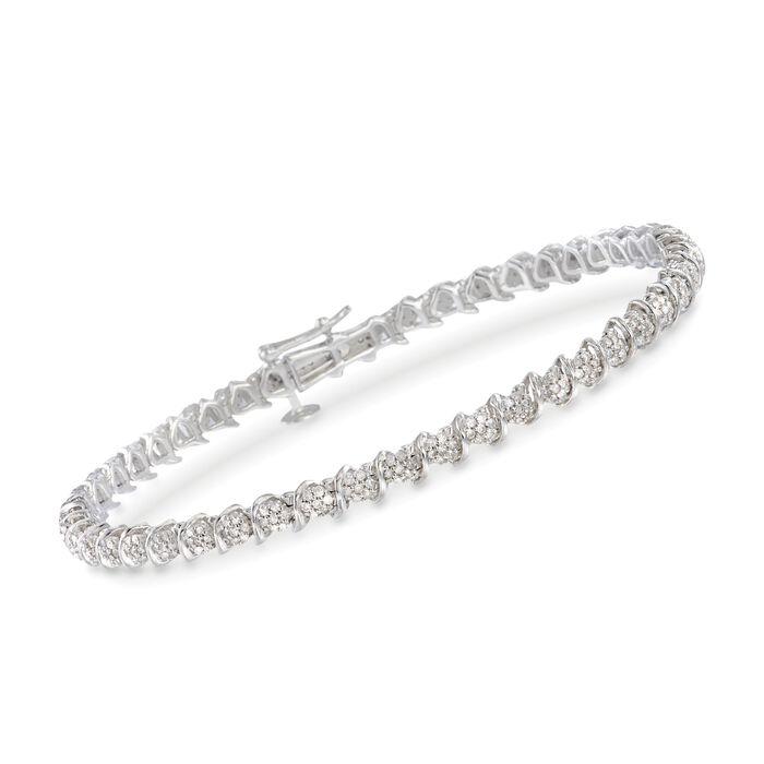 1.00 ct. t.w. Diamond Cluster Tennis Bracelet in Sterling Silver, , default