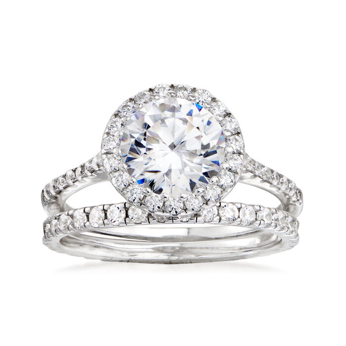 2.60 ct. t.w. CZ Bridal Set: Engagement and Wedding Rings in Sterling Silver