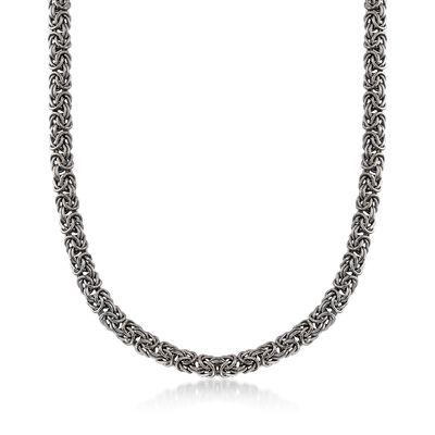 Sterling Silver Byzantine Necklace in Black, , default