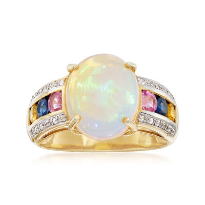 Opal and 1.00 ct. t.w. Multi-Stone Ring in 18kt Yellow Gold Over Sterling Silver, , default