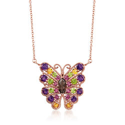 4.80 ct. t.w. Multi-Stone Butterfly Necklace in 18kt Rose Gold Over Sterling Silver , , default