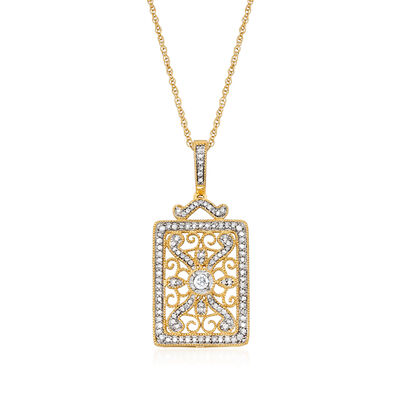 .50 ct. t.w. Diamond Scrollwork Pendant Necklace in 18kt Gold Over Sterling