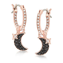 Swarovski Crystal Moon and Star Hoop Earrings in Rose Gold-Plated Metal, , default