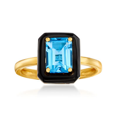 Black Onyx and 2.00 Carat Swiss Blue Topaz Ring in 18kt Gold Over Sterling