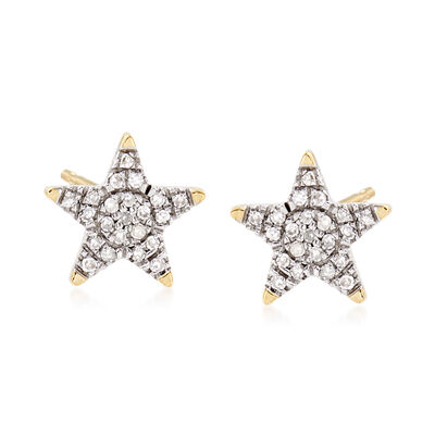 Star Stud Earrings in 14kt Yellow Gold with Diamond Accents