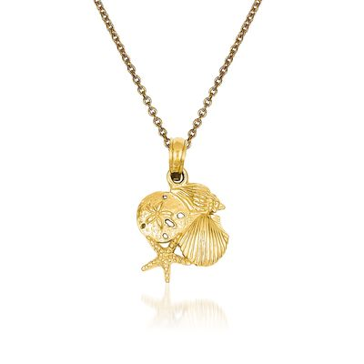 14kt Yellow Gold Shell Pendant Necklace, , default