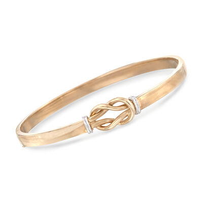 14kt Two-Tone Gold Love Knot Bangle Bracelet, , default