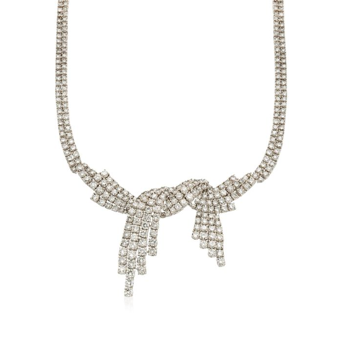 """C. 1985 Vintage 25.00 ct. t.w. Diamond Bow Necklace in 18kt White Gold. 18"""", , default"""