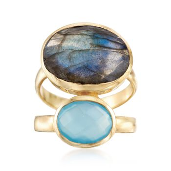 Labradorite and Blue Onyx Ring in 18kt Gold Over Sterling, , default