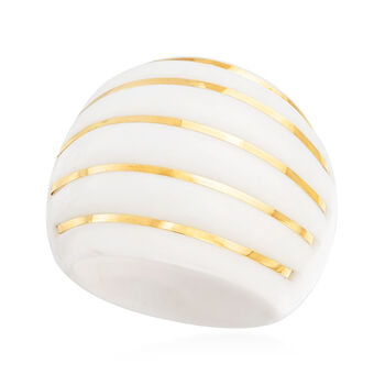 White Agate Striped Dome Ring with 14kt Yellow Gold
