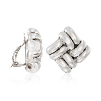 Sterling Silver Basketweave Clip-On Earrings, , default