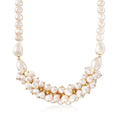 Cultured Pearl Cluster Necklace in 18kt Gold Over Sterling
