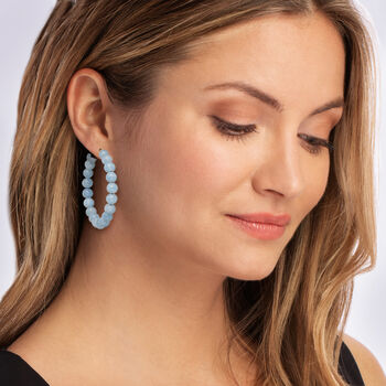 "55.00 ct. t.w. Milky Aquamarine Beaded Hoop Earrings in 14kt Yellow Gold. 1 3/4"""