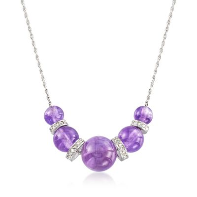 6-10mm Graduated Amethyst Bead and .37 ct. t.w. Diamond Spacer Necklace in Sterling Silver, , default