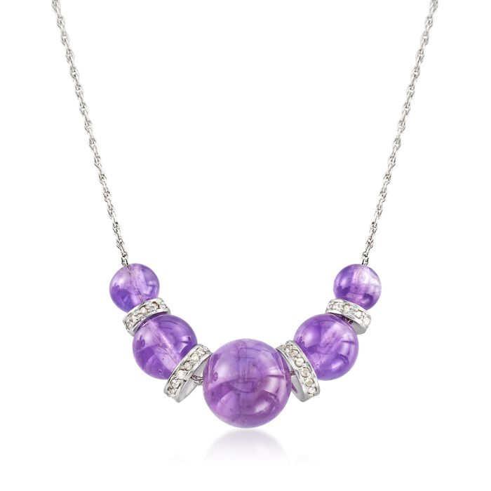 """6-10mm Graduated Amethyst Bead and .37 ct. t.w. Diamond Spacer Necklace in Sterling Silver. 16"""", , default"""