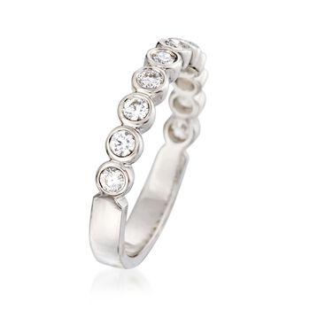 .50 ct. t.w. Bezel-Set Diamond Wedding Ring in 14kt White Gold