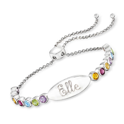 2.80 ct. t.w. Multi-Gemstone Personalized ID Bar Bolo Bracelet in Sterling Silver, , default