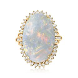 C. 1970 Vintage Opal and 1.50 ct. t.w. Diamond Ring in 14kt Yellow Gold. Size 8, , default
