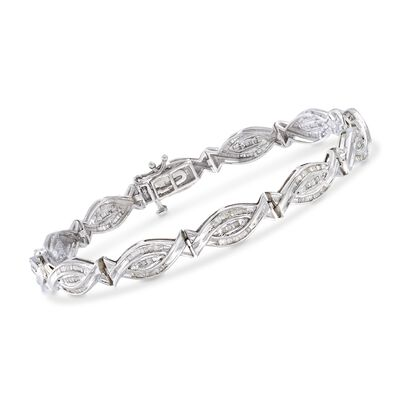 1.00 ct. t.w. Baguette Diamond Woven-Link Bracelet in Sterling Silver