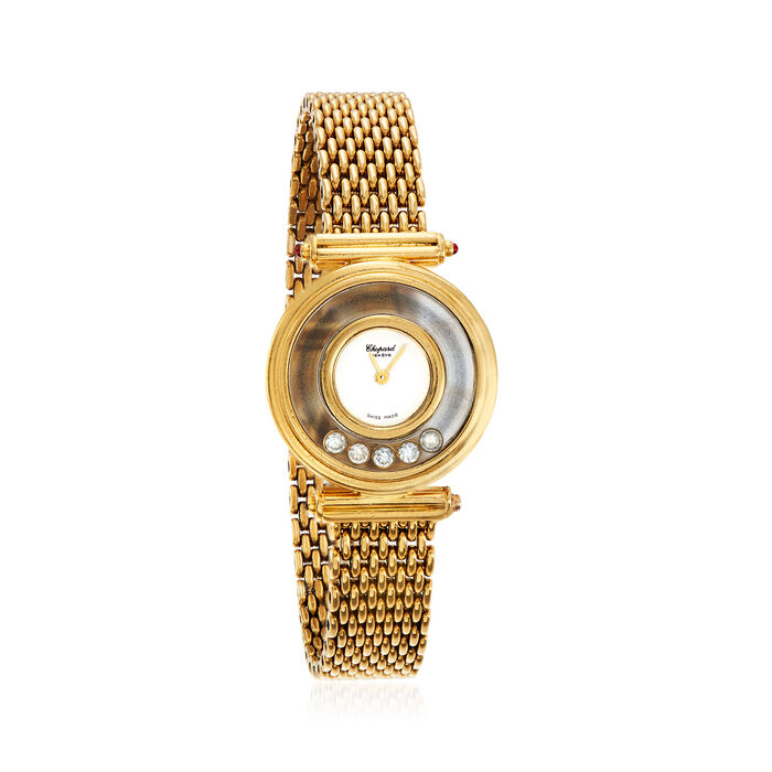 """C. 1980 Vintage Chopard """"Happy"""" .20 ct. t.w. Diamond 25mm Watch with Ruby Accents in 18kt Yellow Gold"""
