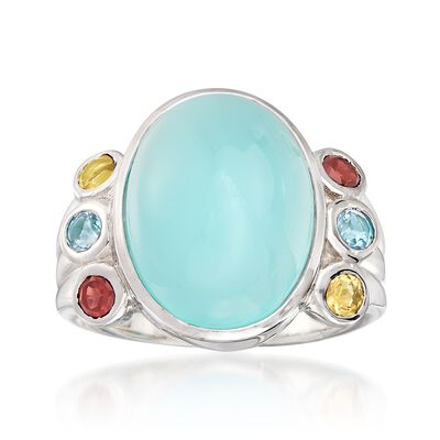 Aqua Chalcedony and .50 ct. t.w. Multi-Stone Ring in Sterling Silver, , default