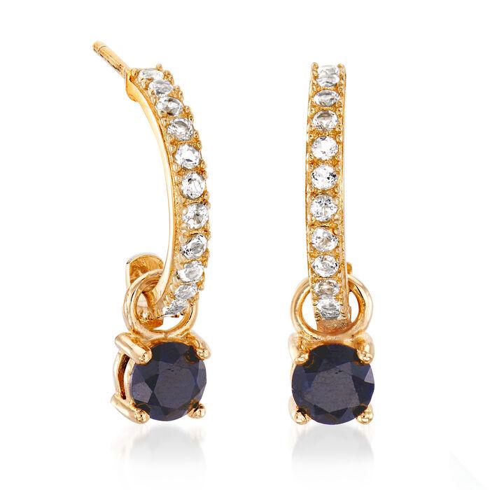 Interchangeable Jewelry Set: Multi-Gem Drop Earrings in 18kt Gold Over Sterling