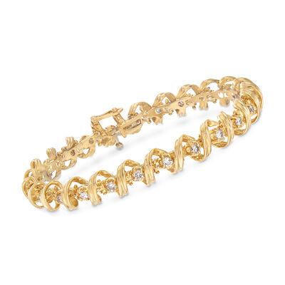 C. 1990 Vintage 2.00ct. t.w. Diamond Coil Bracelet in 14kt Yellow Gold, , default