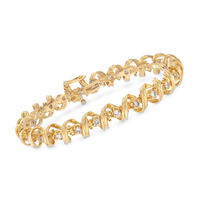 "C. 1990 Vintage 2.00ct. t.w. Diamond Coil Bracelet in 14kt Yellow Gold. 7.25"", , default"