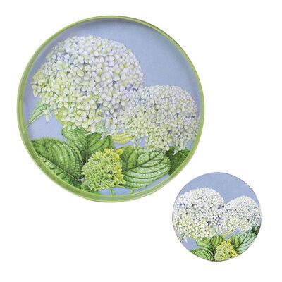 Hydrangea Tray and Set of 4 Coasters