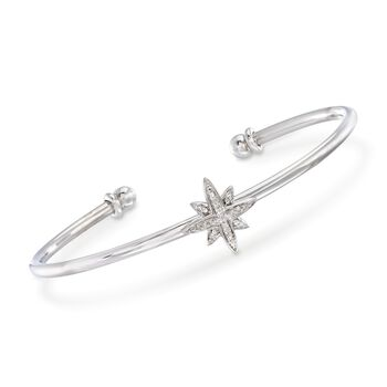 Sterling Silver Star Cuff Bracelet With Diamond Accents, , default