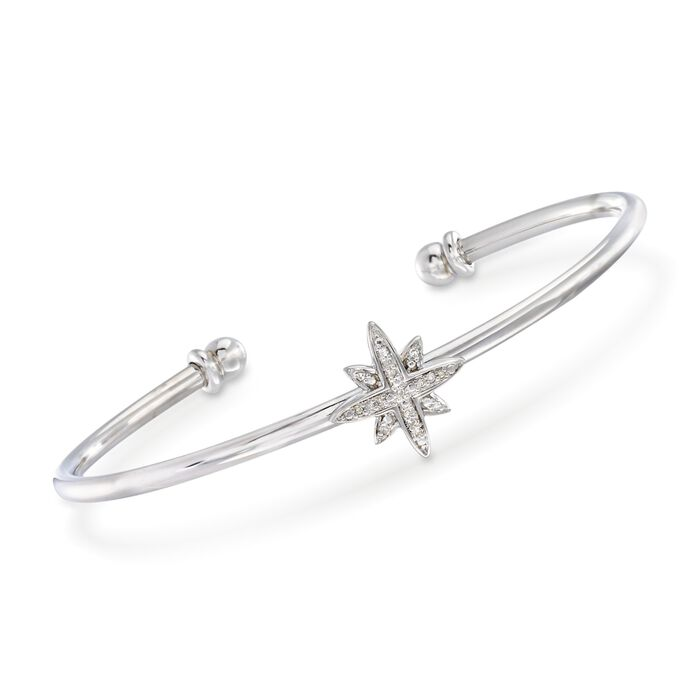 """Sterling Silver Star Cuff Bracelet with Diamond Accents. 7"""", , default"""