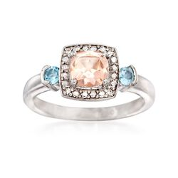 .90 Carat Morganite and .10 ct. t.w. Aquamarine Ring With Diamond Accents in Sterling Silver, , default