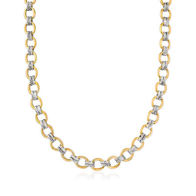 "Phillip Gavriel ""Italian Cable"" Link Necklace in 18kt Yellow Gold and Sterling Silver, , default"