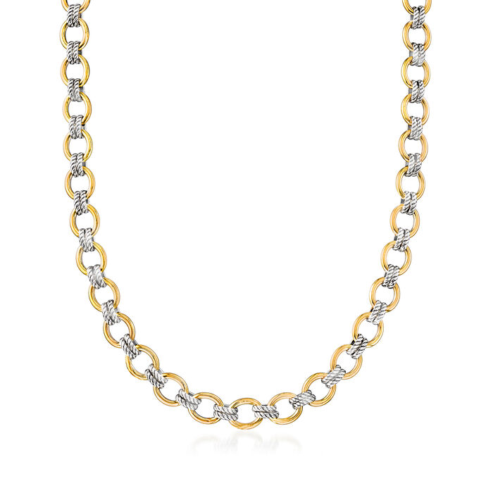 """Phillip Gavriel """"Italian Cable"""" Link Necklace in 18kt Yellow Gold and Sterling Silver"""